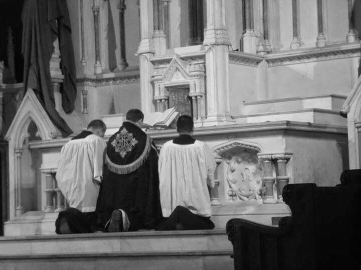 Kneeling at Altar